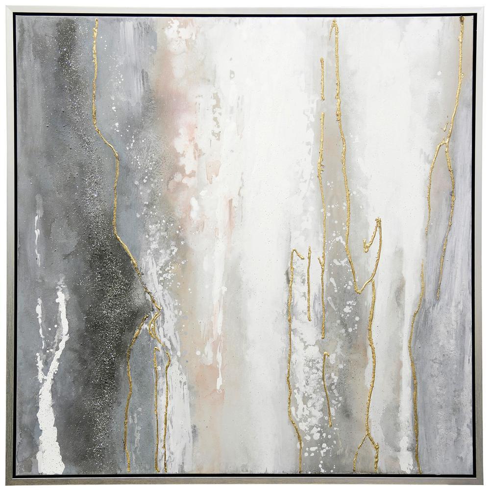 StyleCraft Contemporary Silver Canvas, Metal Framed Wall Art, Dark Gray was $299.85 now $97.52 (67.0% off)
