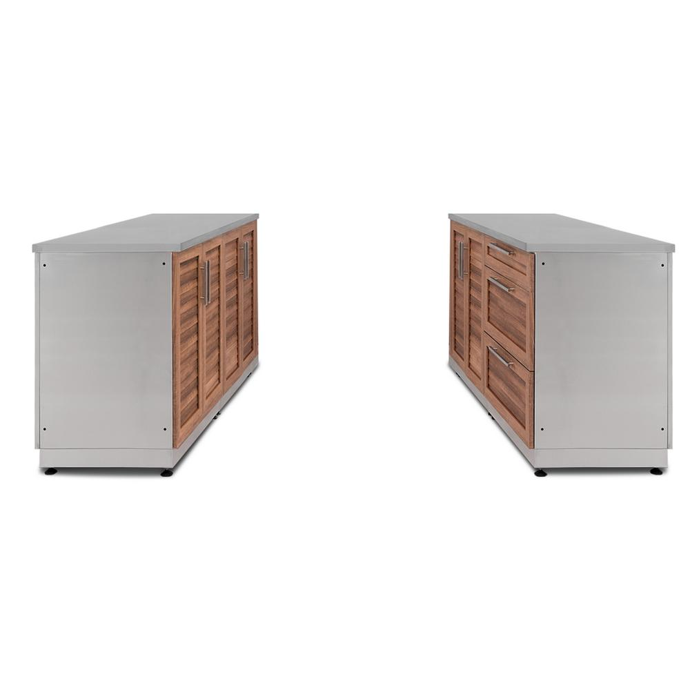NewAge Products Natural Cherry 6-Piece 128 in. W x 36.5 in. H x 24 in. D  Outdoor Kitchen Cabinet Set with Countertops and Covers