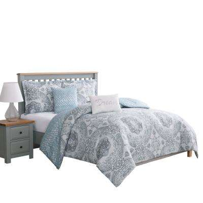 Picadilly Blue and Gray Full and Queen 5-Piece Reversible Comforter Set