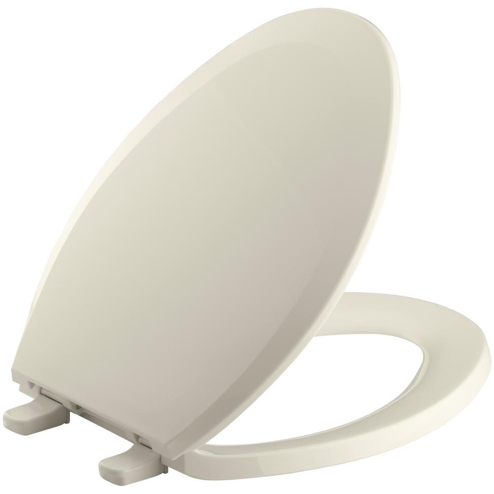 Kohler Lustra Elongated Closed Front Toilet Seat In Almond