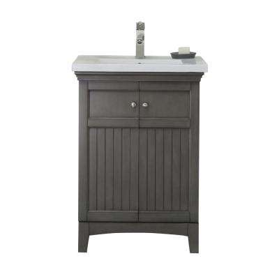 24 in. Vanity in Silver Gray with 1.5 in. Porcelain Vanity Top in White with White Basin - WLF7016-SG