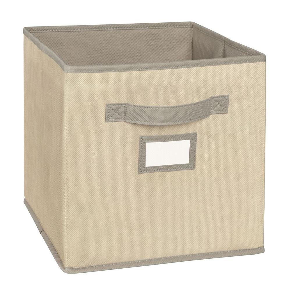 11 in. D x 11 in. H x 11 in. W Tan Fabric Cube Storage Bin