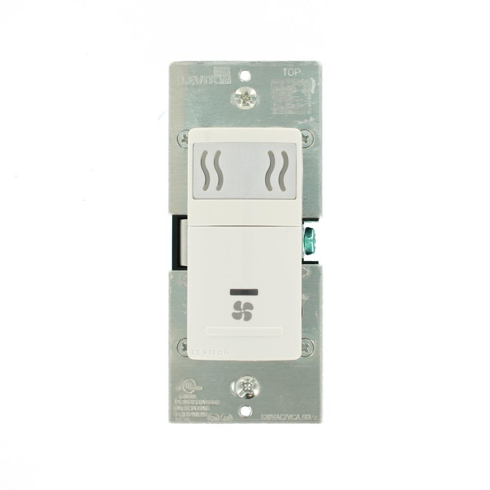 Leviton Decora In-Wall Humidity Sensor & Fan Control, 3 A, Single Pole, on leviton 2 gang switch wiring, leviton switch wire, leviton four-way switch, leviton double switch wiring, leviton white decora 20 amp outlet, leviton electrical switch wiring, leviton switch installation, leviton t5225 wiring-diagram, leviton 4-way switch wiring, leviton dimmer switch wiring,