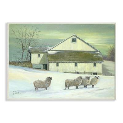 "10 in. x 15 in. ""Sheep in Front of the Farmhouse Green Toned Painting"" by Jerry Cable Wood Wall Art"