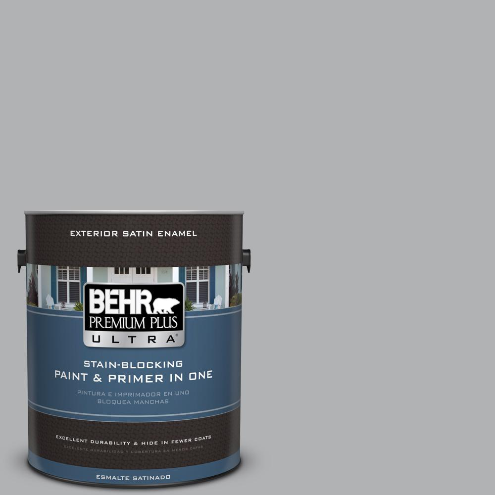 1 gal. #PPU26-08 Silverstone Satin Enamel Exterior Paint and Primer in