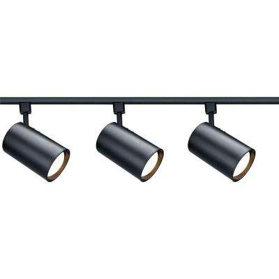 48 in. R30 Black Straight Cylinder Track Lighting Kit
