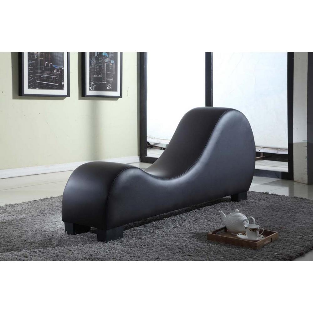 Black Faux Leather Chaise Lounge CL-10 - The Home Depot