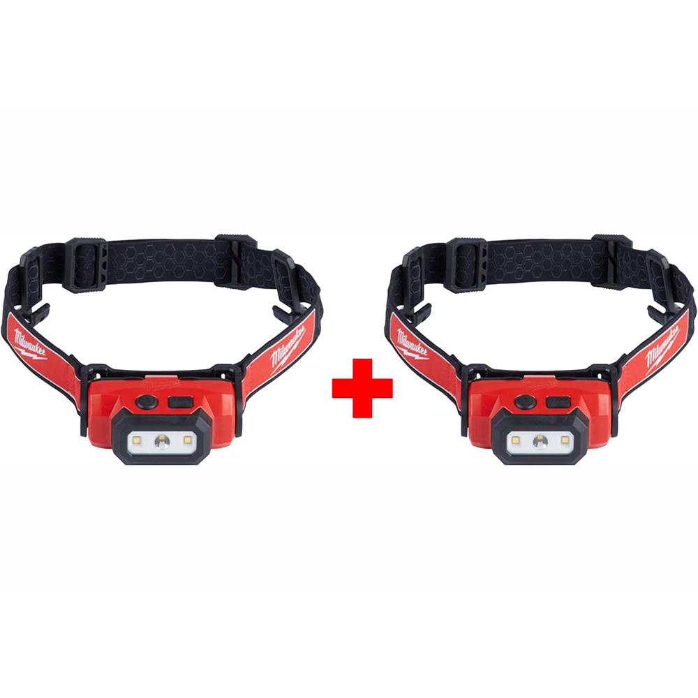 Milwaukee 475 Lumens LED Rechargeable Hard Hat Headlamp (2-Pack)