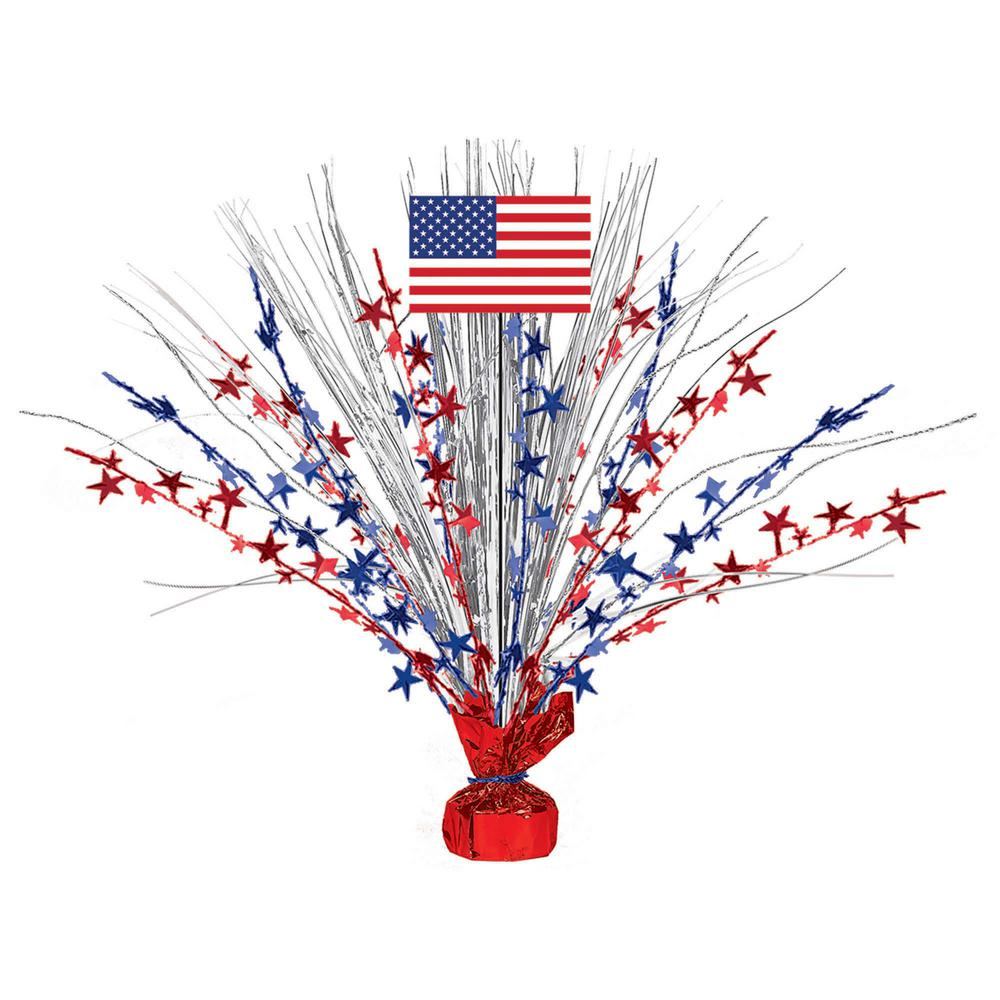18 in. x 2.75 in. Patriotic Foil Spray Centerpiece (2-Pack)