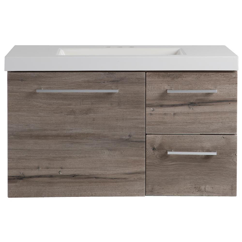 Domani Larissa 37 in. W x 19 in. D Wall Hung Bath Vanity in White Washed Oak with Cultured Marble Vanity Top in White with Sink