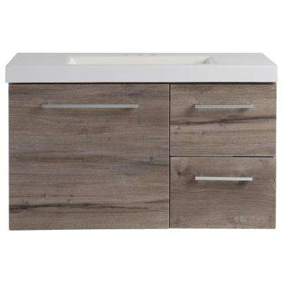 Larissa 36 in. W x 19 in. D Wall Hung Bath Vanity Washed Oak with Cultured Marble Vanity Top in White with Basin