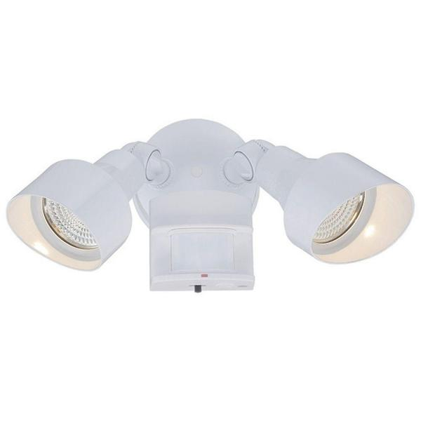 Flood Lights Collection 2-Light White Motion Activated Outdoor Integrated LED Light Fixture