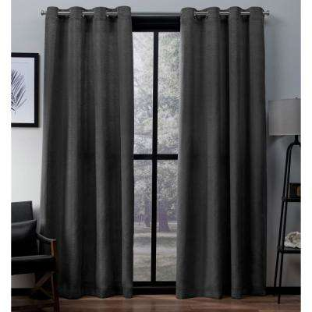 Virenze 54 in. W x 63 in. L Faux Silk Grommet Top Curtain Panel in Black Pearl (2 Panels)
