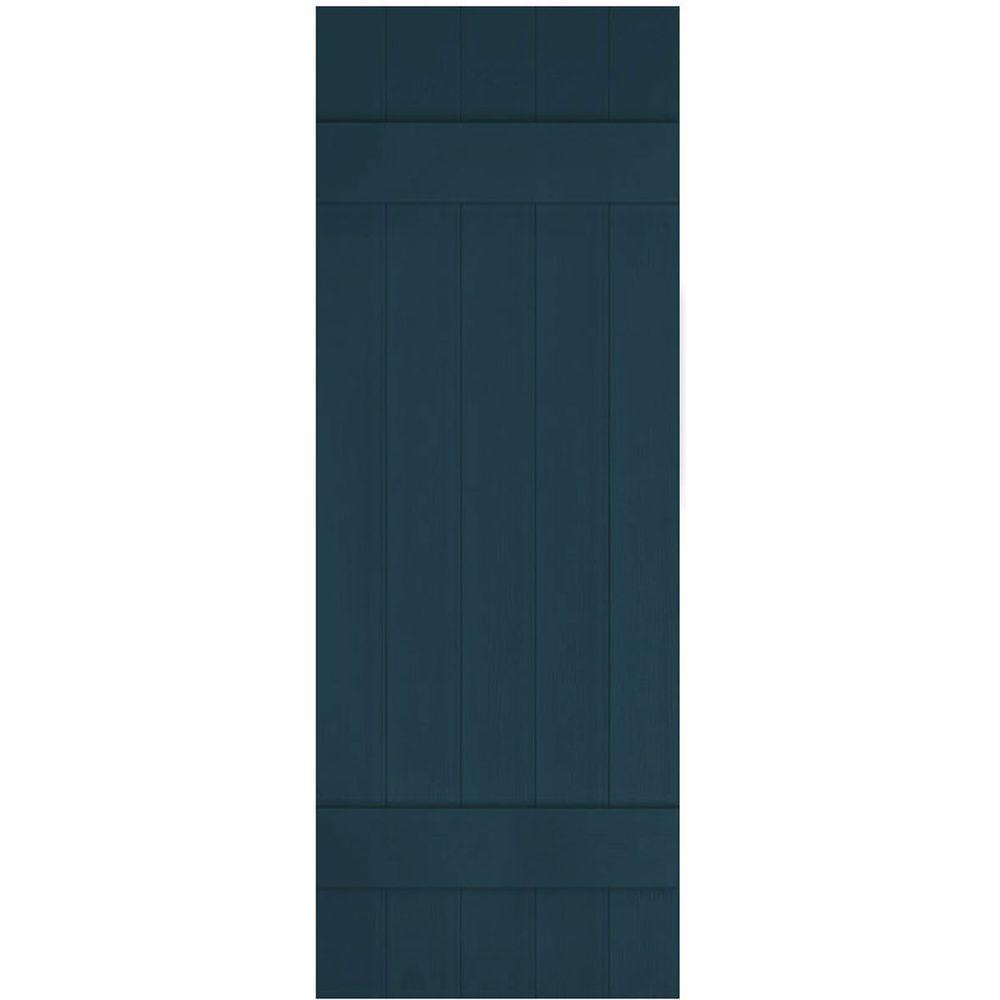 Ekena Millwork 17 1 2 In X 43 In Lifetime Vinyl Custom Five Board Joined Board And Batten Shutters Pair Midnight Blue Lj5c17x04300mb The Home Depot