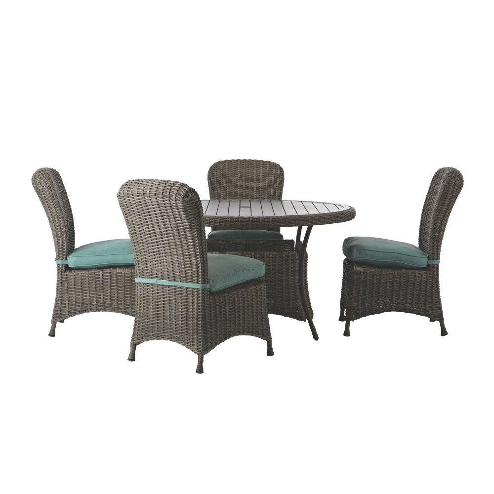 Lake Adela Weathered Gray 5 Piece All Weather Patio Dining Set With Surf  Cushions