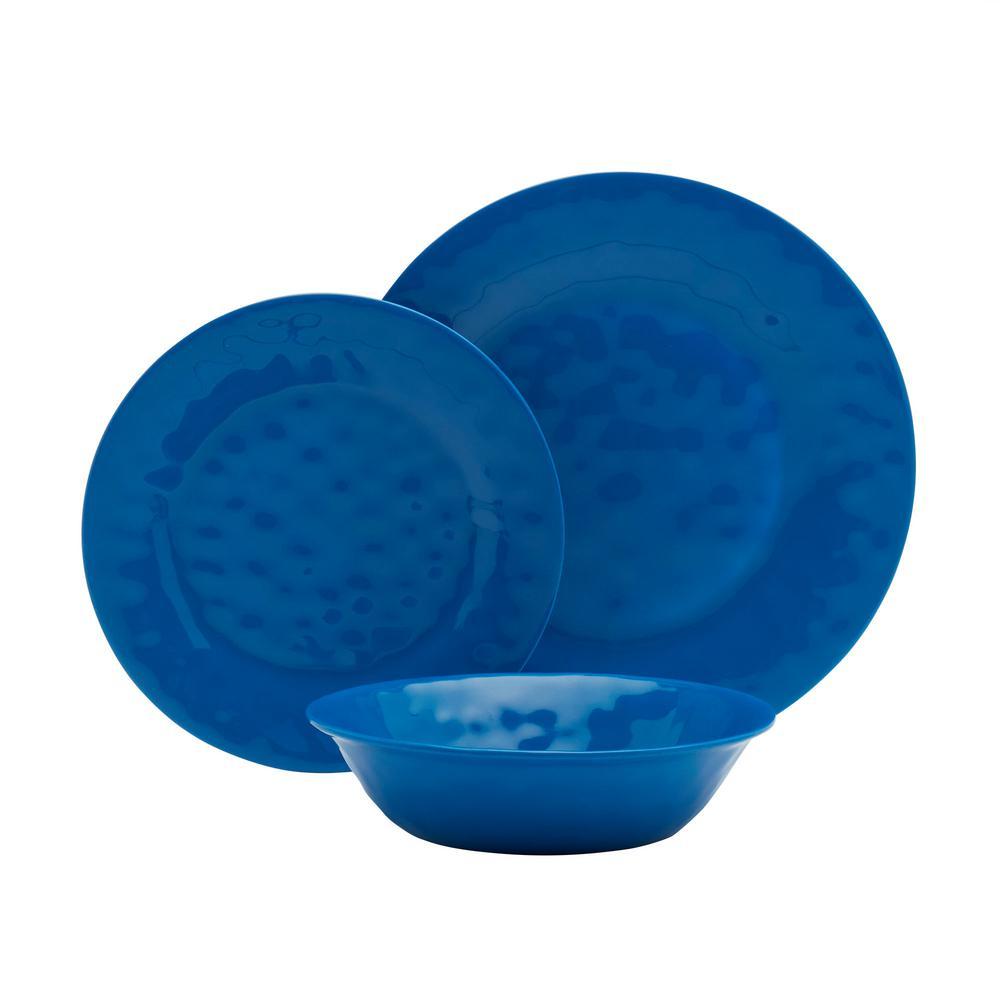 12-Piece Blue Solid Melamine Dinnerware Set