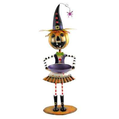 41 in. Iron Jack-O-Lantern Head Girl with Witch's Hat and Tray Halloween Yard Decoration