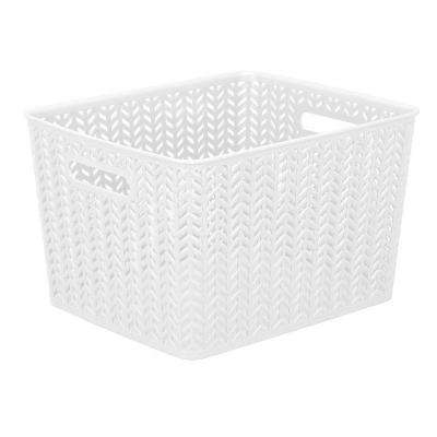 13.75 in. x 11.50 in. x 8.75 in. Large Herringbone Storage Bin in White