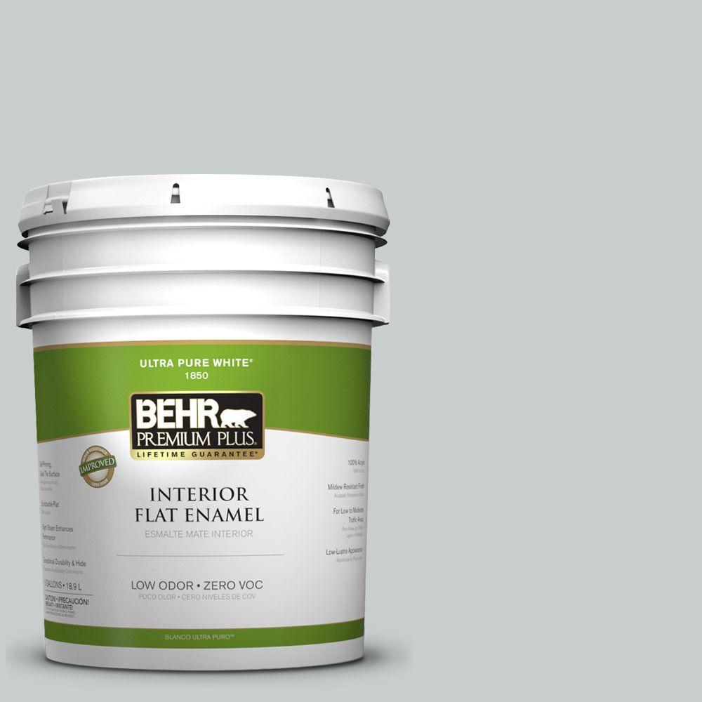 BEHR Premium Plus 5-gal. #720E-2 Light French Gray Zero VOC Flat Enamel Interior Paint-DISCONTINUED