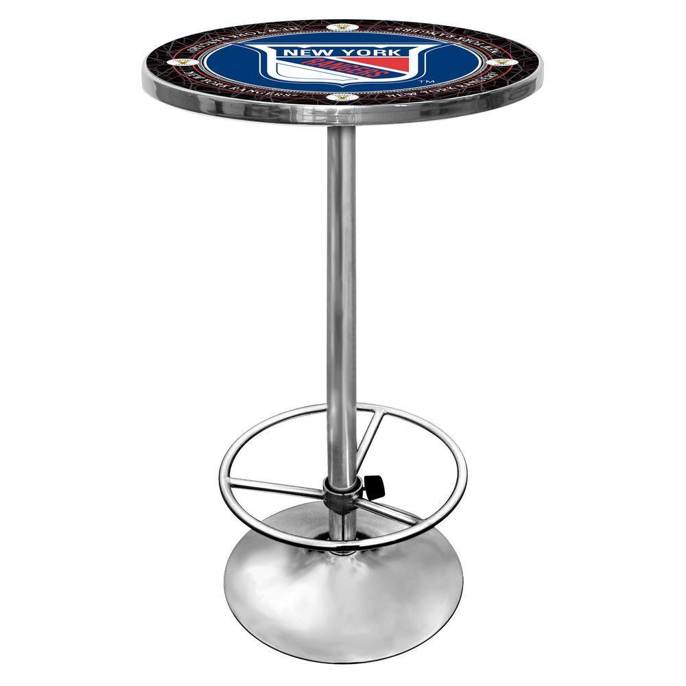 Trademark Nhl Vintage New York Ranger Chrome Pub Bar Table