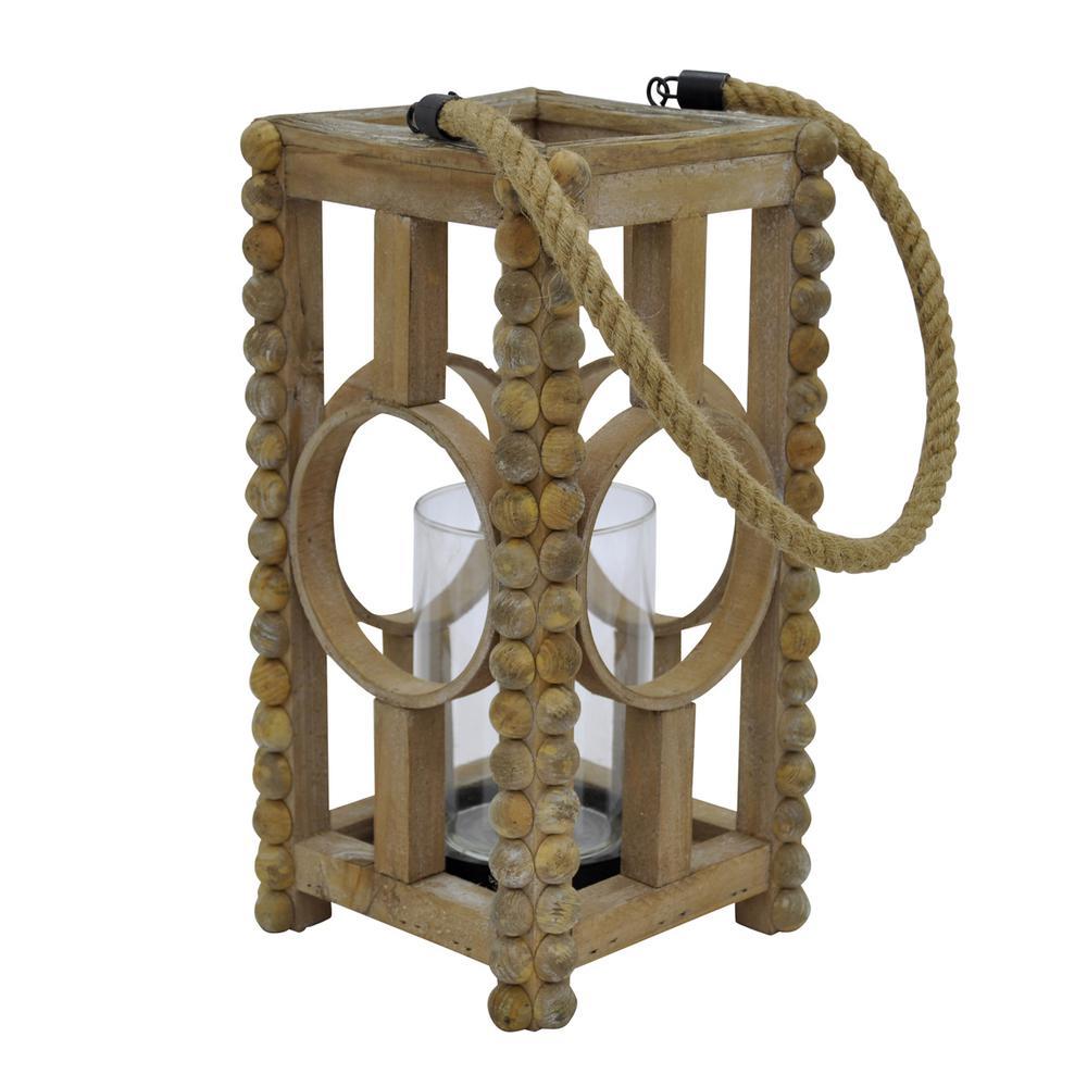 7 in. x 7 in. Brown Wood Lantern