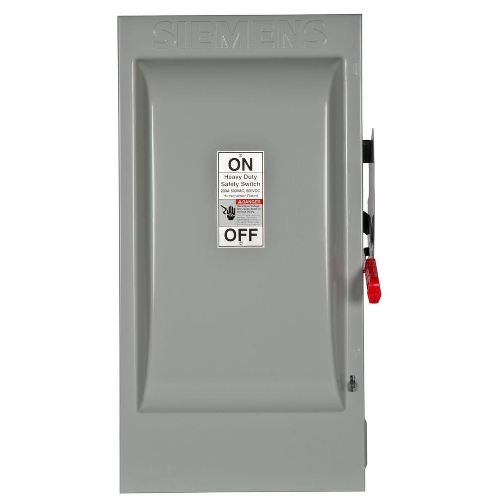 siemens heavy duty 200 amp 600 volt 3 pole indoor non fusible safety switch hnf364 the home depot. Black Bedroom Furniture Sets. Home Design Ideas