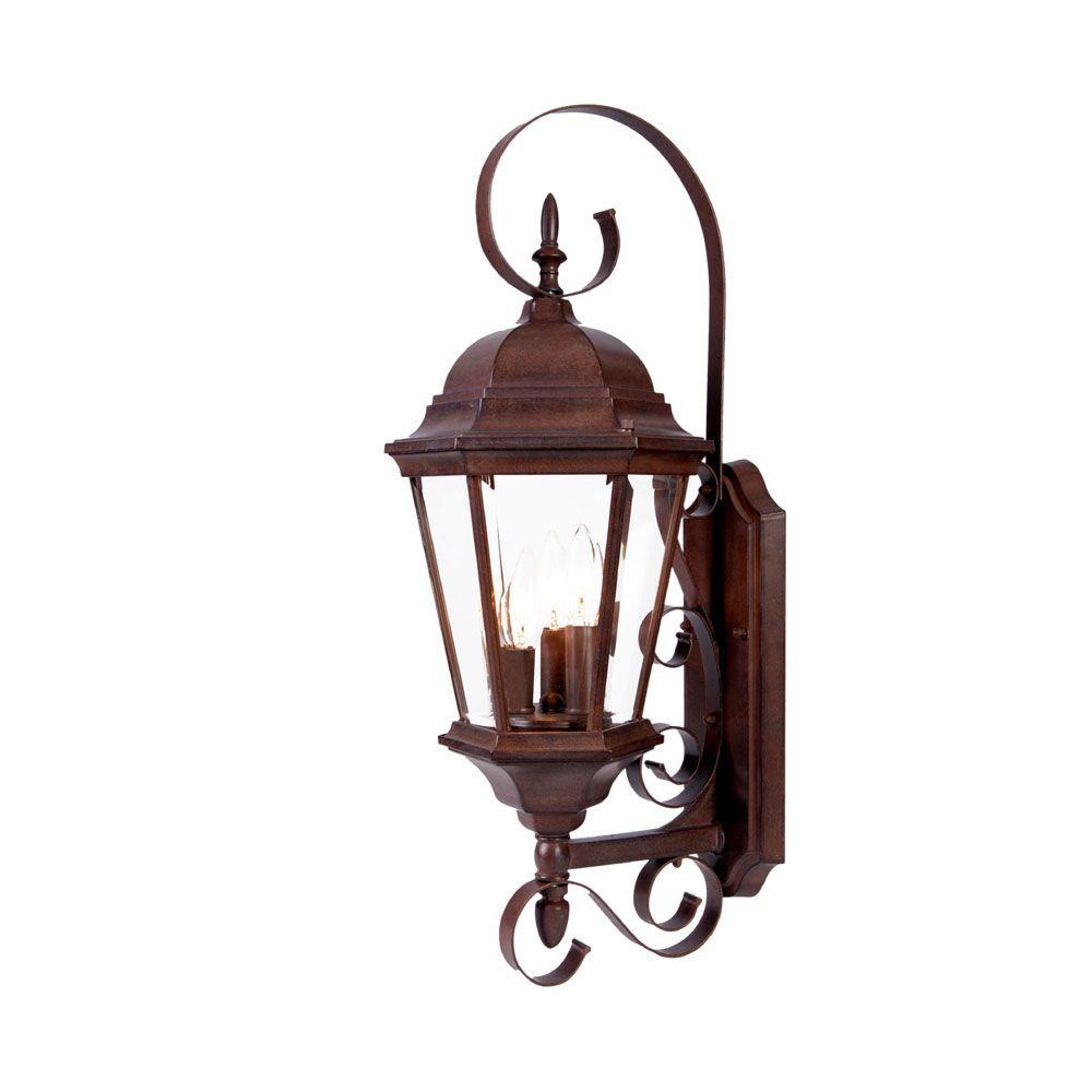 Acclaim Lighting New Orleans Collection 3-Light Burled Walnut Outdoor Wall-Mount Light Fixture