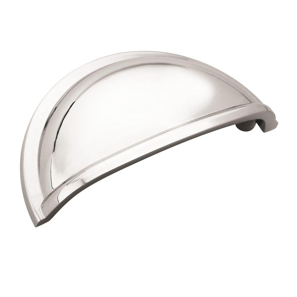 Amerock Cup Pulls 3 in. (76 mm) Center-to-Center Polished Chrome Cabinet Cup Pull (10-Pack)
