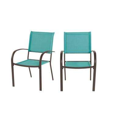 Mix and Match Stationary Stackable Steel Split Back Sling Outdoor Patio Dining Chair in Haze Teal Blue (2-Pack)
