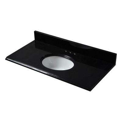 25 in. x 19 in. Granite Vanity Top in Black with White Bowl and 4 in. Faucet Spread