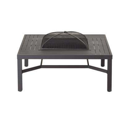 43.50 in. Aluminum Fire Pit Table in Black