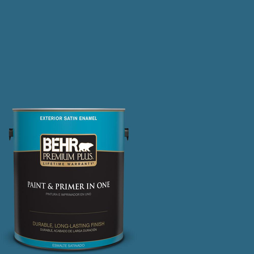 1-gal. #M480-7 Ice Cave Satin Enamel Exterior Paint