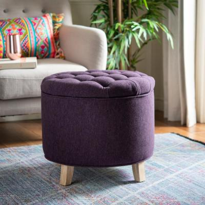 Purple Ottomans Living Room Furniture The Home Depot