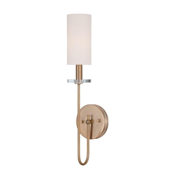 Monroe Collection Satin Gold Sconce with White Fabric Shade
