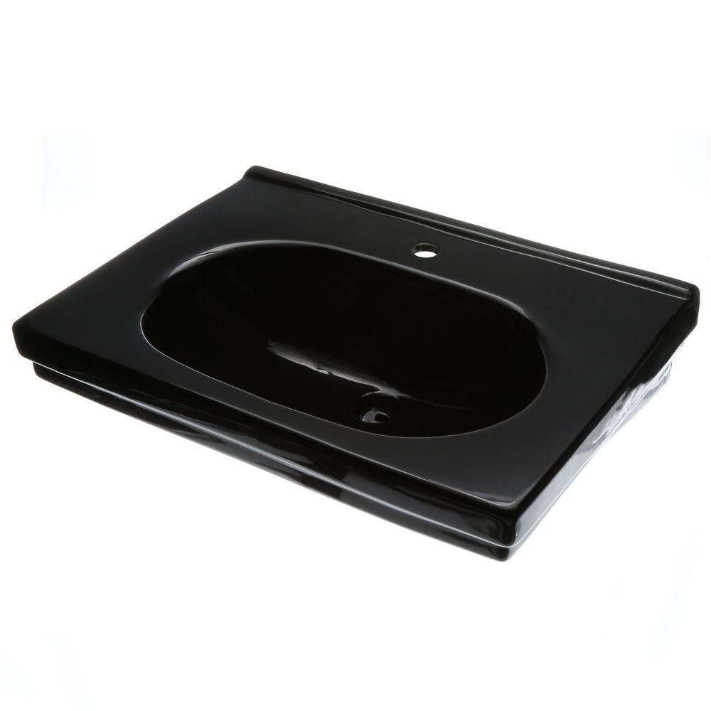 Structure Suite 20-5/80 in. Pedestal Sink Basin in Black