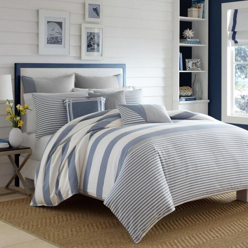 Nautica Fairwater 3-Piece Blue Cotton Full/Queen Comforter Set 220085