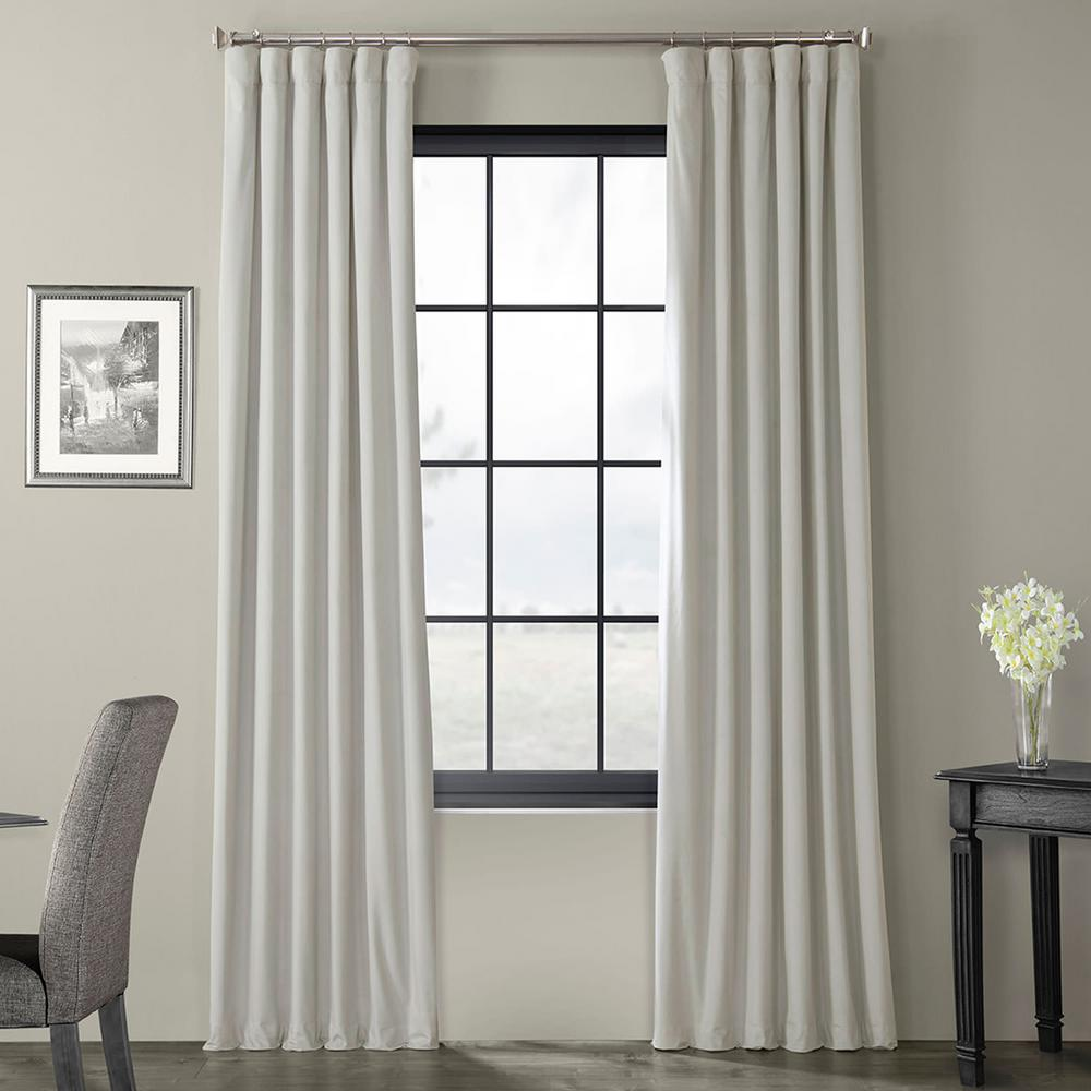 Exclusive Fabrics & Furnishings Blackout Signature Reflection Grey Blackout Velvet Curtain - 50 in. W x 96 in. L (1 Panel)