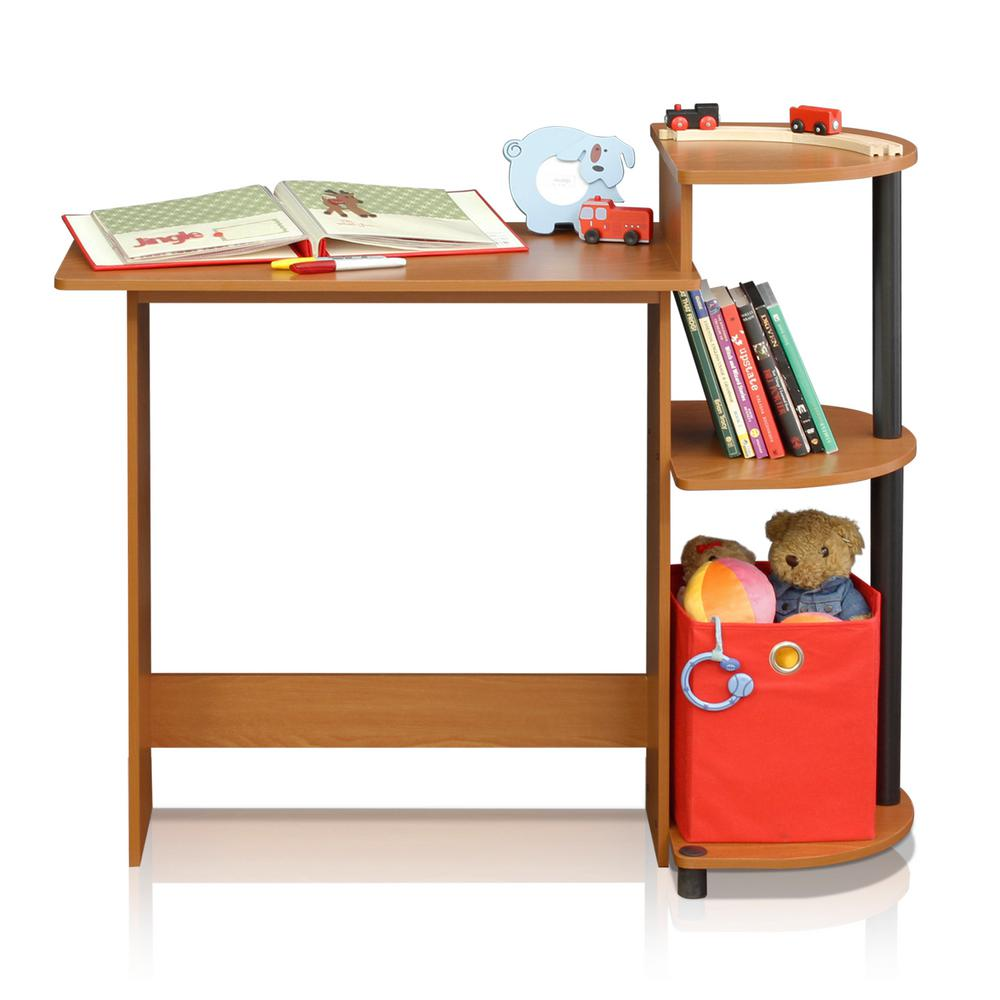Furinno Compact Light Cherry Black Computer Desk