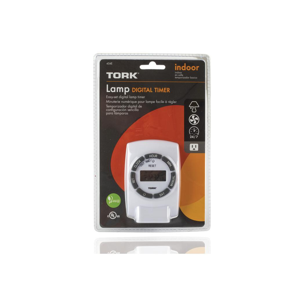 tork 15 amp 7 day plug in digital timer with multiple on - Lamp Timer