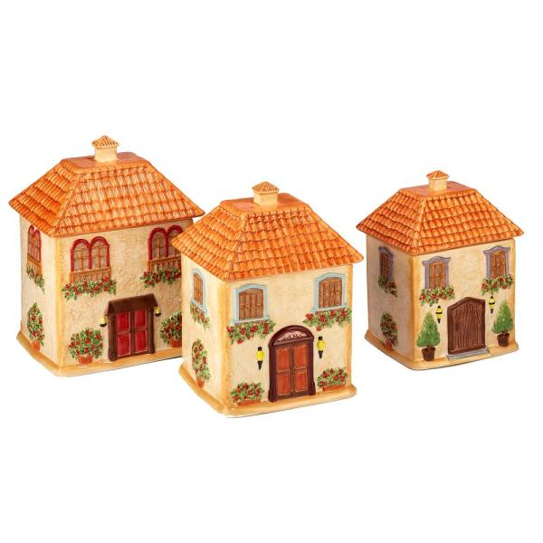Piazzette 3-Piece Traditional Multi-Colored Ceramic 52, 74, 96 oz. Canister Set