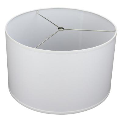 Fenchel Shades 18 in. Top Diameter x 18 in. Bottom Diameter x 12 in. Height Drum Lamp Shade - Linen White