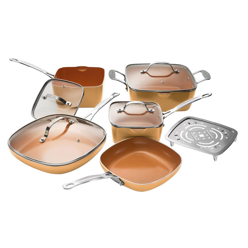 10-Piece Copper Non-Stick Ti-Ceramic Square Cookware Set with Lids