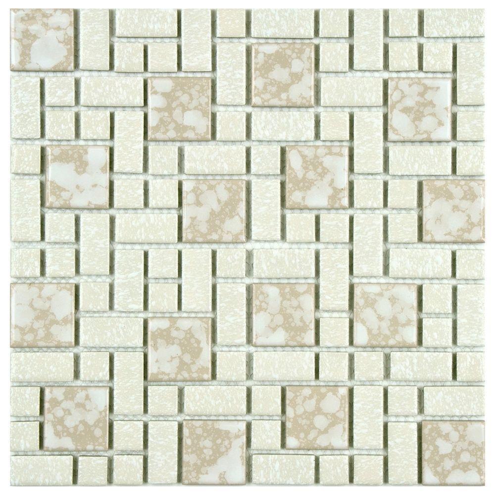 University Bone 11-3/4 in. x 11-3/4 in. x 5 mm Porcelain Mosaic Tile (9.8 sq. ft. / case)