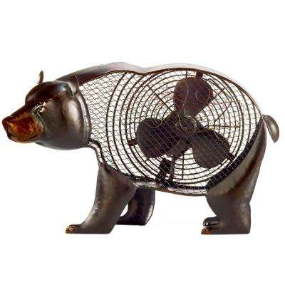 19.29 in. Black Bear Figurine Fan