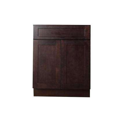 Bremen Ready to Assemble 24x34.5x24 in. Shaker Base Cabinet with 1-Drawer and 2-Door in Espresso