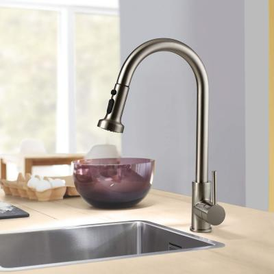 Commercial Single-Handle Pull Down Sprayer Kitchen Faucet Swivel Sprayhead Faucet in Brushed Nickel