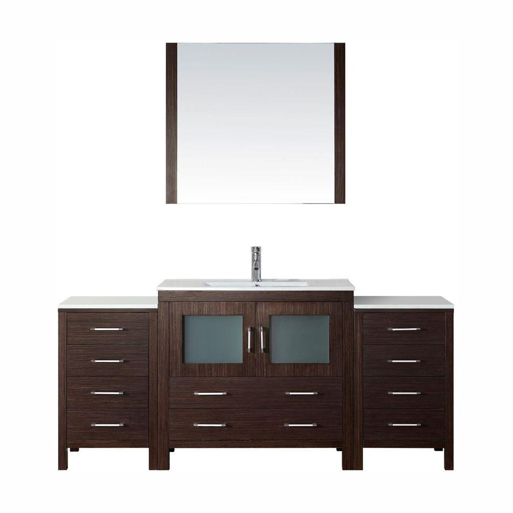 Virtu USA Dior 73 in. W Bath Vanity in Espresso with Ceramic Vanity Top in White with Square Basin and Mirror and Faucet