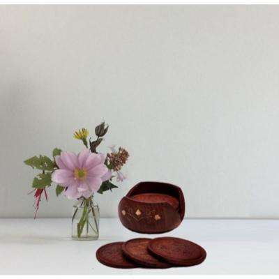 Retro Style Round Shaped Dark Brown Drink Coasters in Rosewood with a Brass Inlay Holder (Set of 6)