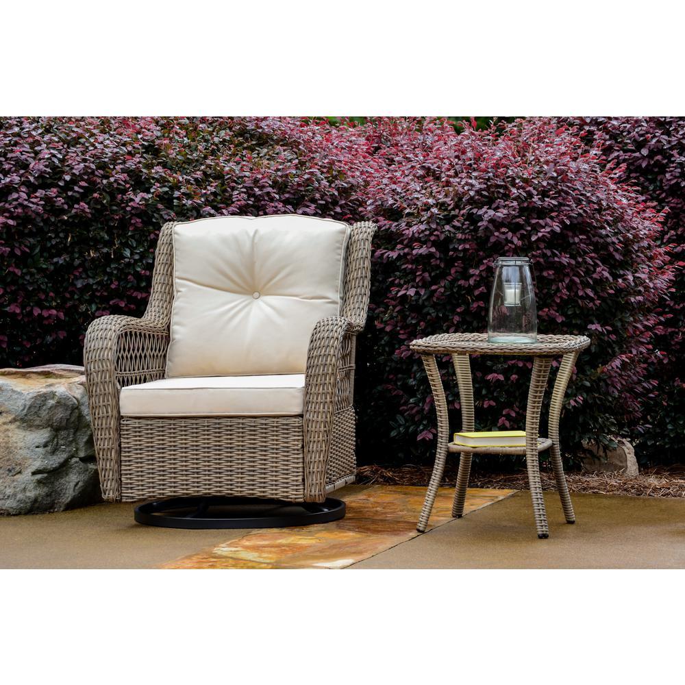 Rio Vista 2-Piece Wicker Square Outdoor Bistro Set with Beige Cushions