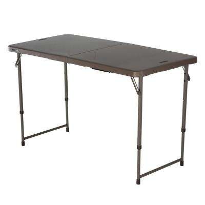 4 ft. Black Resin Adjustable Height Fold-in-Half Folding Table